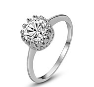 18K White Gold Plated Classic Lady's Shining Clear Crystal Rhinestone Crown Ring
