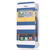Elegant Blue Strips Pattern PU Full Body Case with Dual Front Windows and Stand for iPhone 5/5S
