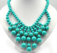 European Fluorescent Beads Alloy Statement Necklace(Blue,Green,Yellow,Orange,Red,Pink) (1 Pc)