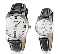 Couple's Business Style Black Leather Band Quartz Wrist Watch (Assorted Colors)