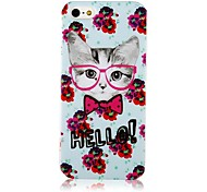 Flor y Cat Pattern Case de silicona suave para iPhone4/4S