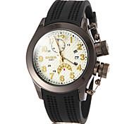 Vérifier Motif Hommes cadran rond de bande de silicone de montre de quartz de mode analogique (couleurs assorties)