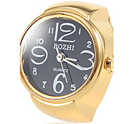Women's Black Dial Gold Alloy Quartz Ring Watch