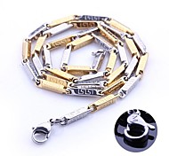 Personalized Gift Gold and Silver Stainless Steel Jewelry  Engraved Chain Necklace 0.3cm Width