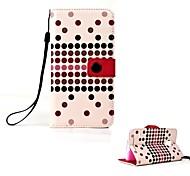Elegantes Design Punkte Muster Ledertasche mit Ständer für Samsung i9600 Galaxy S5 (Pink)