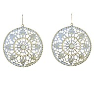 Flower Pattern Circle Painted Earrings