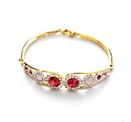 Ruby Jewelry Yellow Gold Plated Shining Red Crystal Bangle