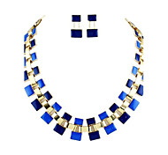 Hot Sale Double Layer Small Block Charn Fashion Necklace 2014 Set