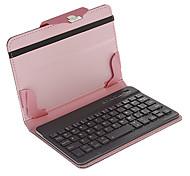 7 pollici Bluetooth PU Custodia in pelle completo con la tastiera (nero e rosa)