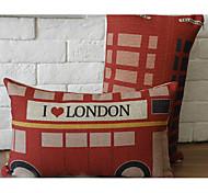 Cute Cartoon UK Bus Pattern Car Auto Seat Back Cushion Cuddle Pillow Sofa Soft Cushion