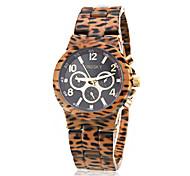Women's Leopard Print Style Ceramic Band Quartz Wrist Watch