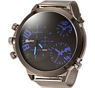 Men's Dual Time Zones Simple Round Dial Alloy Band Quartz Analog Wrist Watch (Assorted Color) Cool Watch Unique Watch