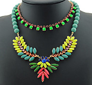 Fashion Gold Multilevel Colorized Lint Wrap Knit Rhinestones Crystal Resins Beads Statement Necklace