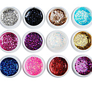 12PCS Mixs Цвет Блеск Блестки УФ Цветной гель для маникюра Советы ногтей (8 мл)