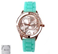 Personalized Gift Women's Love Pattern Dial Green Rubber Band Analog Engraved Watch with Rhinestone