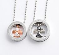 forma del círculo de la moda y el collar de diamantes ángel cz colgante de acero de titanio pareja (1 unidad)