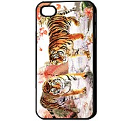 3D Tiger Drothers Pattern Hard Case for iPhone 4/4S