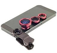 Clipe Universal 3 em 1 lente grande angular / lens/180 Macro lente olho de peixe / Kit Conjunto para iPhone / iPad / Samsung Telefone