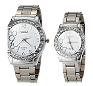 Couple's Diamond Case Silver Steel Band Quartz Wrist Watch (Assorted Colors)