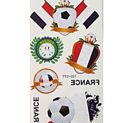 2PCS Football Pattern France World Cup Waterproof Tattoo Body Temporary Glitter Stickers