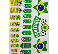2PCS 20 Brazil World Cup Football Pattern Nail Art Stickers&3 Temporary Tattoo