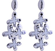 Lureme®Glitter 3 Layers Butterfly Dangle Earrings
