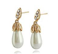 Joyería de imitación de la perla de 18 quilates pendientes del aro de oro blanco / rosa hecha con genuino cristal de Austria