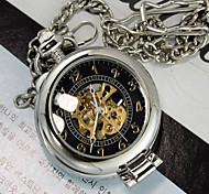 Mens Silver Black Magnifier Through Mechanic Skeleton Pocket Watch