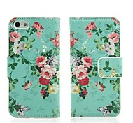 Floral Print Faux Leather Flip Case with Card Slots and Stand for iPhone 5/5S