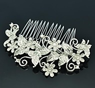 Clear Rhinestone Women's Wedding Bridal Flower with Butterfly Hair Comb