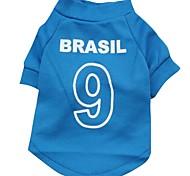 Nummer 21 brasil Muster terylene T-Shirt für Haustiere Hunde (blauer verschiedenen Größen)
