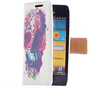 Flowers and Skull Style Leather Case with Card Slot and Stand for Samsung Galaxy S Advance i9070