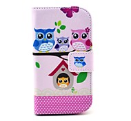 Owl Family Pattern PU Leather Case with Card Slot and Stand for Samsung Galaxy S3 mini I8190
