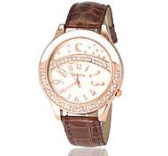 Damen Diamant Gold Case PU-Band Quarz-Armbanduhr (verschiedene Farben)