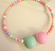 Fashion Candy Color Size Pearl Short Necklace
