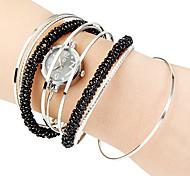 Frauen Perlen-Dekor Stahl Bügel-Quarz-Armbanduhr (verschiedene Farben)