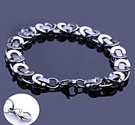 Fashion Personalized Gift  Handmade Stainless Steel Jewelry  Engraved Chain Link Bracelets 0.8cm Width