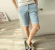 Men's Solid Casual Chinos / Shorts,Cotton / Others Black / Blue / Orange / Yellow