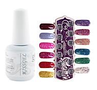 YeManNvYou®1PCS Sequins UV Color Gel Nail Polish No.205-216 Soak-off(15ml,Assorted Colors)