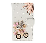 DIY Kitty and Irregular Rhinestone Pattern Litchi Texture Leather Case with Stand for Nokia N920