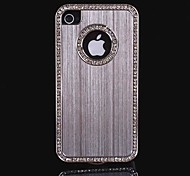 Luxury Brushed Aluminum Bling Crystal Diamond Metal Hard Case for iPhone 4/4S (Assorted Colors)