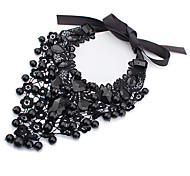 Vintage  Choker Chunky Long Black Pendant Necklace