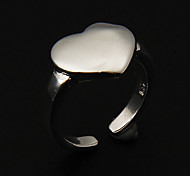 Sweet Heart Shape Women'S Adjustable Band Rings(Silver)(1 Pc)