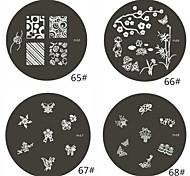 1 Parte M Series Flower Design arredondado Nail Art Stamp Estamparia Imagem da Placa NO.68-68 (Padrão sortidas)