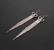Fashion Tassels Love Heart Shape  Alloy Drop Earrings(Silver,Grey,Golden) (1 Pair)