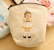 Doll Pattern Canvas Change Purse(Yellow)