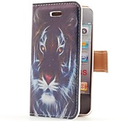 Tiger Head Style Flip Leather Case with Stand and Card Slot for iPhone 4/4S