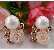 Z&X®  High Grade Pearl Flower Rhinestone Earrings