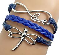 shixin® europäischen Libelle 18cm Frauen blau Leder Wickelarmband (1 PC)