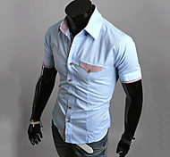 Men's Solid Casual Shirt,Cotton Blend Short Sleeve Black / Blue / Red